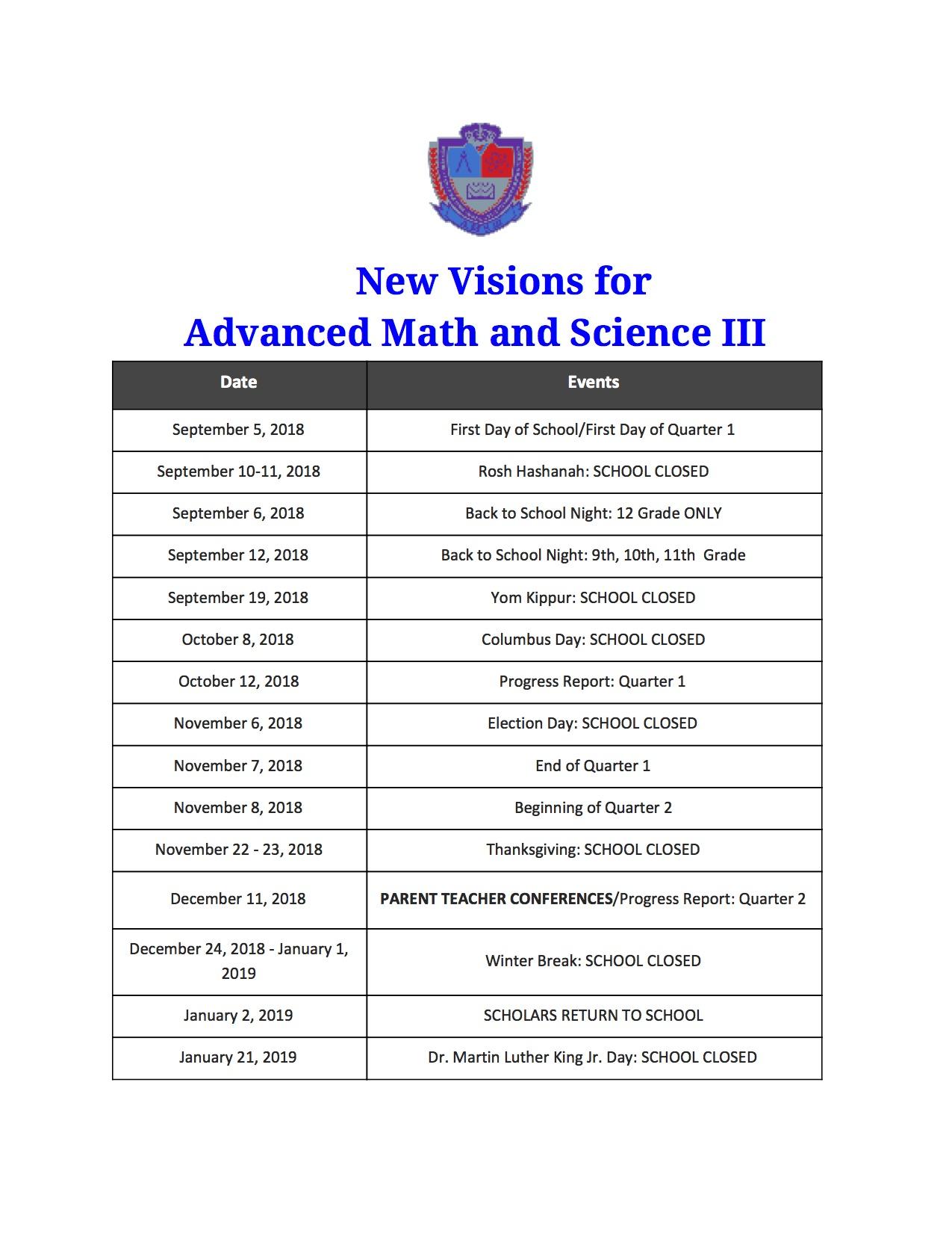Ams Iii School Calendar New Visions For Public Schools